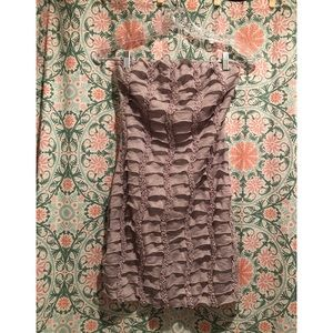 BODY CENTRAL Taupe ruffle mini strapless dress